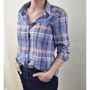 THEORY Kenola Audrey's Plaid Shirt Button Front S